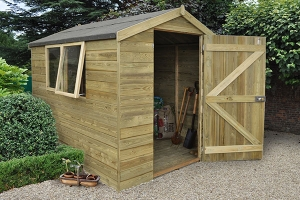 wooden tongue and groove shed with door open and window ajar in a garden setting