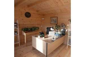Forest Chiltern Log Cabin Garden Office Interior Photo of Desk and Shelves