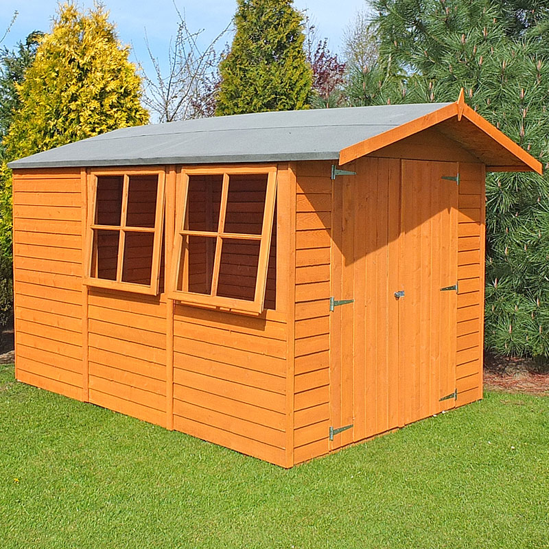 10' x 7' Shire Overlap Double Door Wooden Garden Shed with Opening Windows (3.35m x 2.2m)