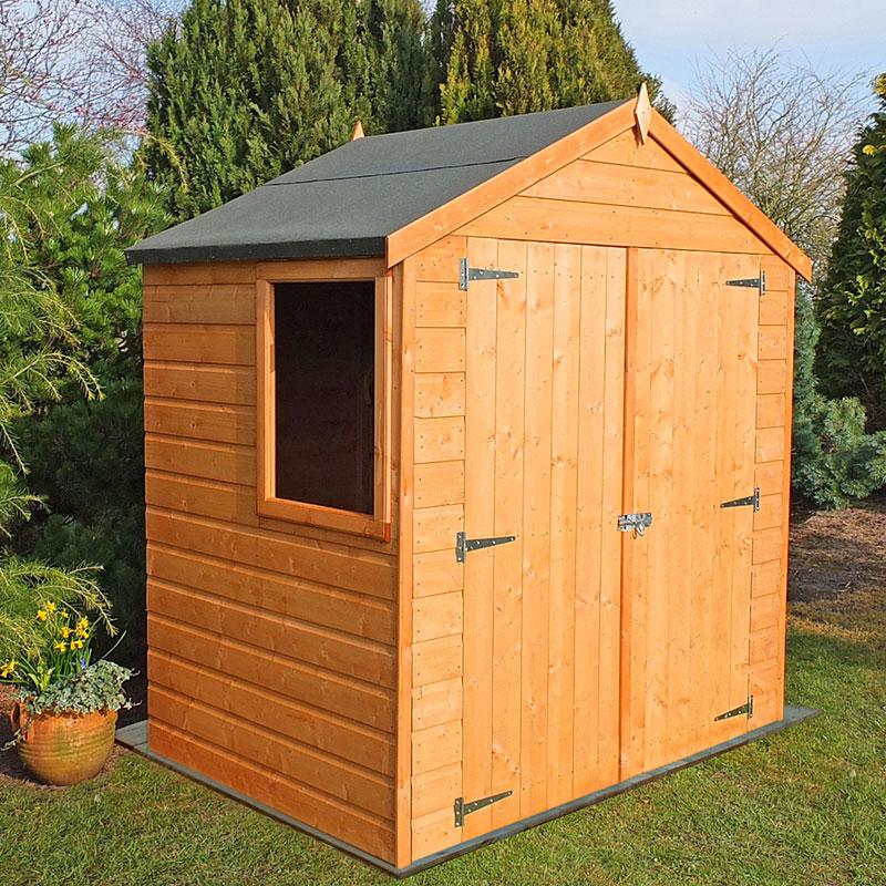 6'5 x 4' Shire Shiplap Double Door Wooden Garden Shed (1.96m x 1.23m)