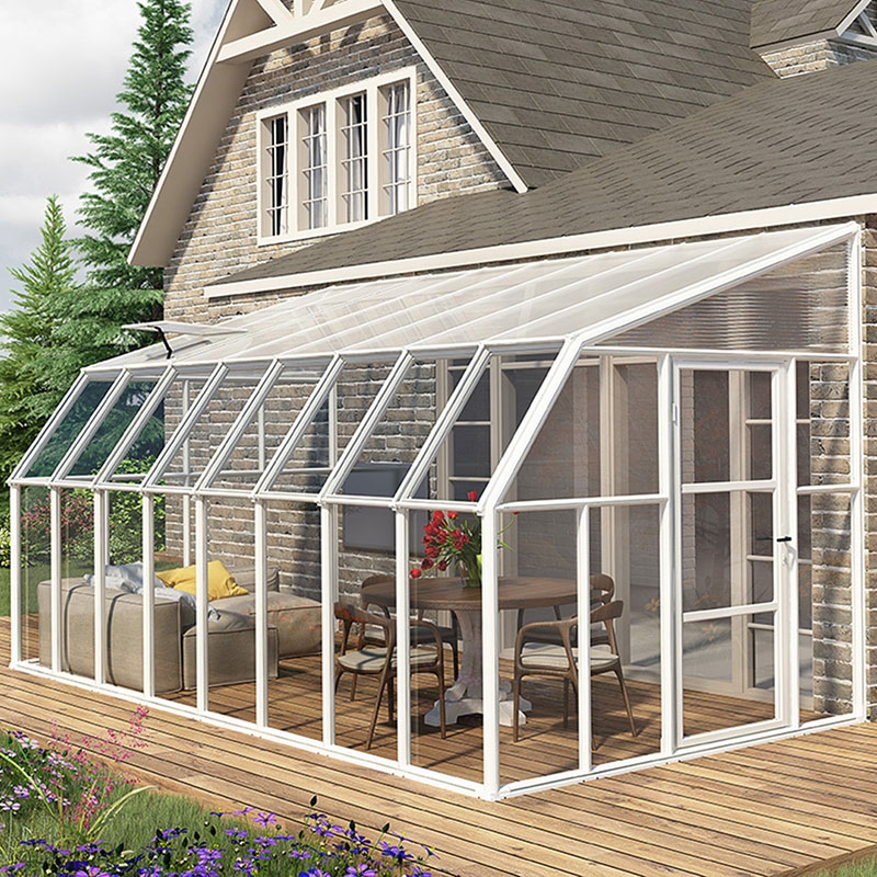 8'x16' Palram Rion White Sun Room Walk In Wall Greenhouse (2.4x4.8m)