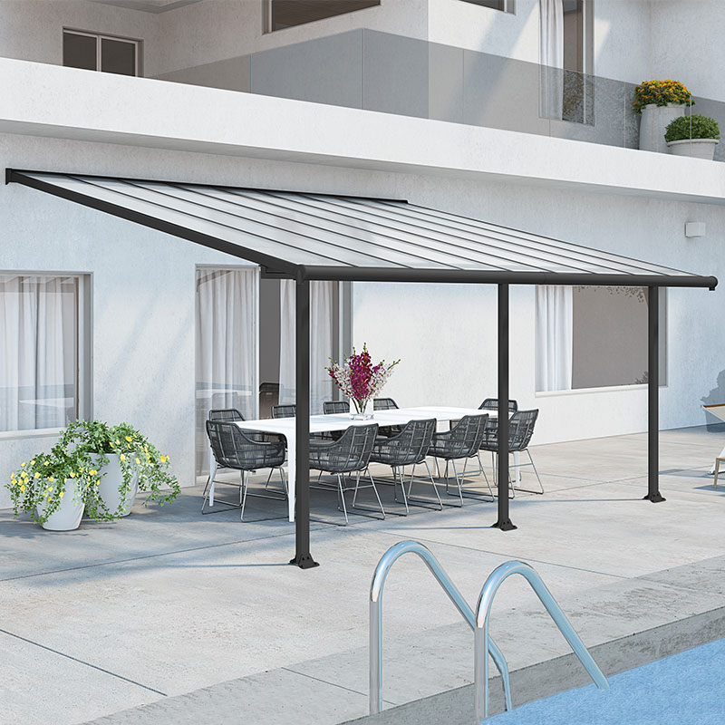 10'x18' (3x5.46m) Palram Olympia Grey Patio Cover With Clear Panels