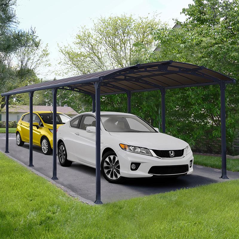 12' x 28' Palram Arcadia 8500 Grey Metal Carport (3.59m x 8.58m)