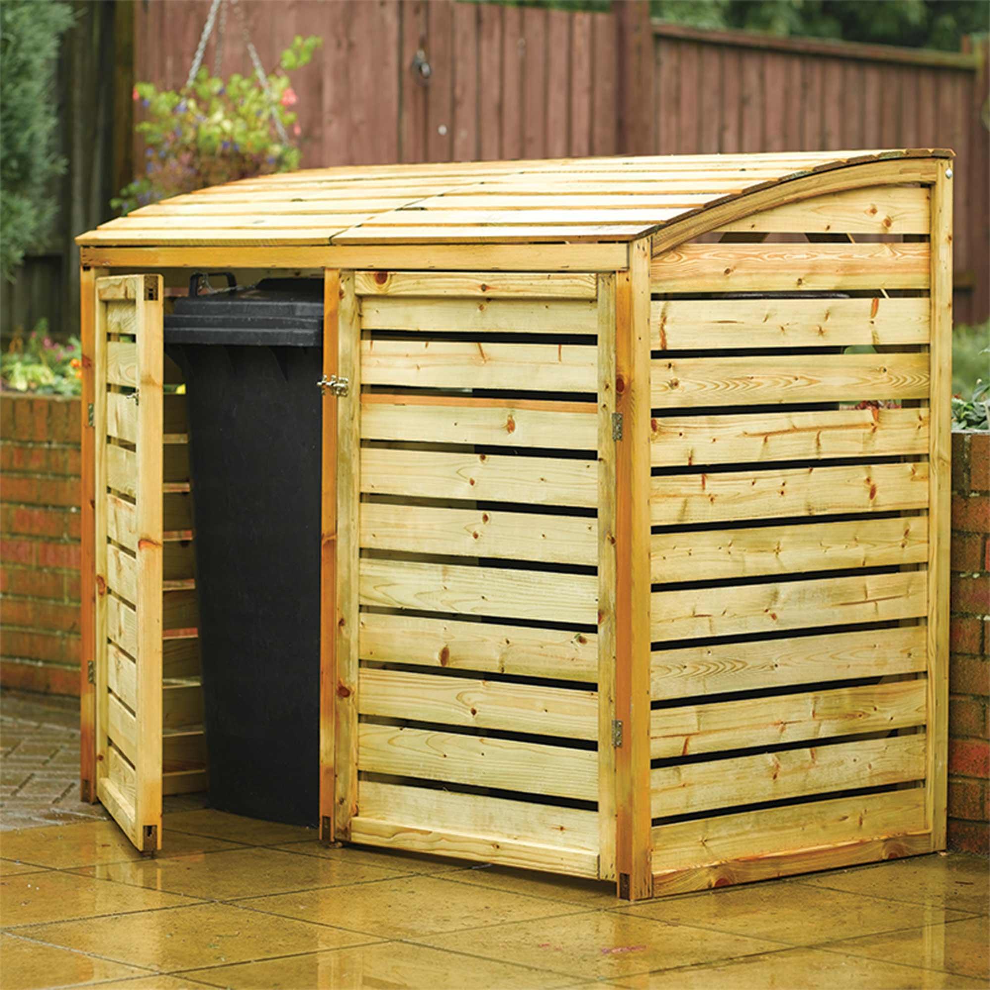 5 'x 3' Rowlinson Double Wooden Wheelie Bin Storage (1.56x0.82m)