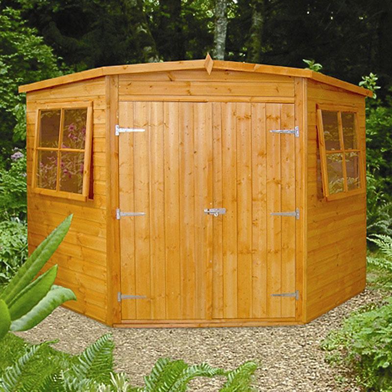 7' x 7' Shire Shiplap Wooden Corner Garden Shed (2.16m x 2.16m)
