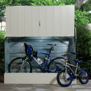 6'4 x 2'9 Trimetals Ramped Metal Bike Shed - Cream (1.95m x 0.88m)