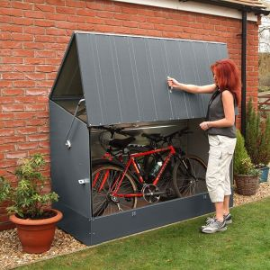 6'4 x 2'9 Trimetals Ramped Metal Bike Shed - Anthracite (1.95m x 0.88m)