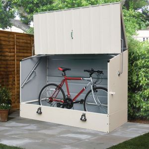 6'4 x 2'9 Trimetals Protect A Cycle Metal Bike Shed with Ramp - Cream (1.95m x 0.88m)
