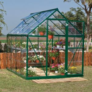 6'x8' (1.8 x 2.4m) Palram Harmony Green Greenhouse - Clear Polycarbonate and Aluminum