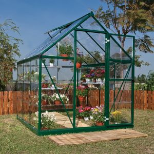 6'x6' (1.8 x 1.8m) Palram Harmony Green Greenhouse - Clear Polycarbonate and Aluminum