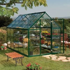 6'x10' (1.8 x 3m) Palram Harmony Green Greenhouse - Clear Polycarbonate and Aluminum