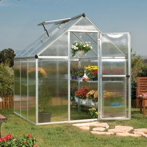6'x6' (1.8 x 1.8m) Palram Mythos Silver Greenhouse - Twinwall Polycarbonate and Aluminum