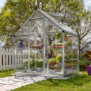6'x4' (1.8 x 1.2m) Palram Harmony Silver Greenhouse - Clear Polycarbonate and Aluminum with Base