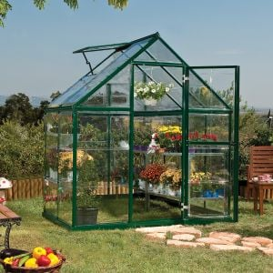 6'x4' (1.8 x 1.2m) Palram Harmony Green Greenhouse - Clear Polycarbonate and Aluminum