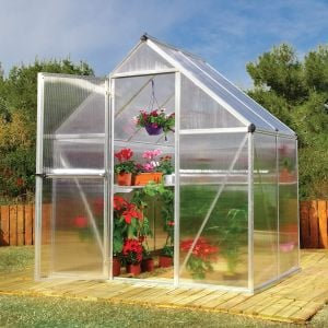 6'x4' (1.8 x 1.2m) Palram Mythos Silver Greenhouse - Twinwall Polycarbonate and Aluminum