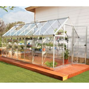 6'x14' (1.8 x 4.2m) Palram Harmony Silver Greenhouse - Clear Polycarbonate and Aluminum