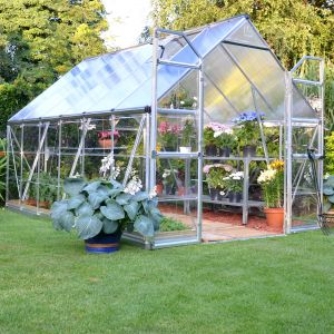 8'x12' (2.4 x 3.6m) Palram Balance Silver Greenhouse - Polycarbonate Panels, Twinwall on Roof, Clear on Walls