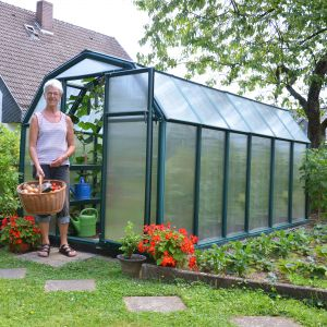 6'x12' (1.8 x 3.6m) Rion EcoGrow Green Greenhouse with Resin Frame