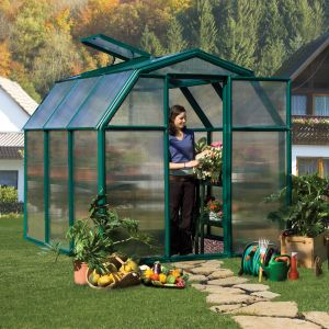 6'x6' (1.8 x 1.8m) Rion EcoGrow Green Greenhouse with Resin Frame