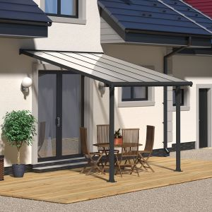 10'x10' (3x3m) Palram Olympia Grey Patio Cover With Clear Panels