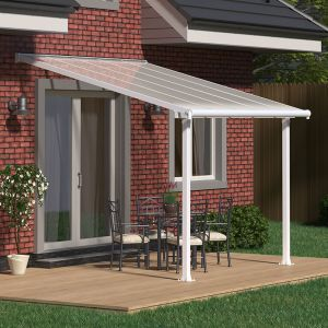 10'x10' (3x3m) Palram Olympia White Patio Cover With Clear Panels