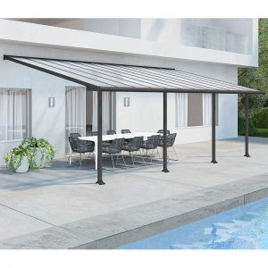 10'x20' (3x6.1m) Palram Olympia Grey Patio Cover With Clear Panels