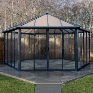 20'x17' (6x5.1m) Palram Garda Enclosed Grey Gazebo