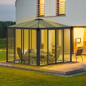 10'x10' (3x3m) Palram Ledro 3000 Enclosed Grey Gazebo