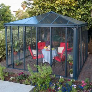 12'x12' (3.6x3.6m) Palram Ledro 3600 Enclosed Grey Gazebo