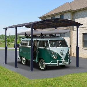12' x 21' Palram Arcadia Alpine 6400 Grey Metal Carport