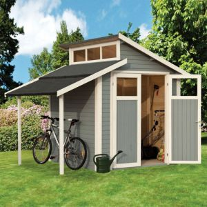 10' x 7' Rowlinson Skylight Light Grey Wooden Shed with Lean-To (3m x 2.2m)