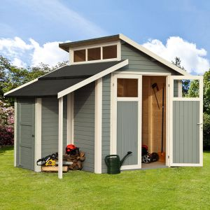 10' x 7' Rowlinson Skylight Light Grey Wooden Shed with Store (3m x 2.2m)
