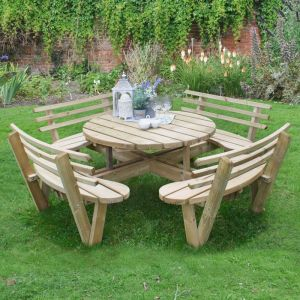 2.4m (8'x8') Furniture-Plus Circular Picnic Table with Seat Backs