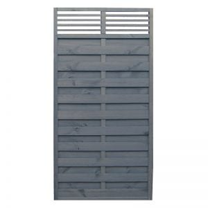 Rowlinson 3' x 6' Sorrento Grey Fence Panel with Slatted Top (0.9m x 1.8m)