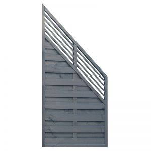 Rowlinson 3' x 6' Sorrento Angled Grey Fence Panel with Slatted Top (0.9m x 1.8m)