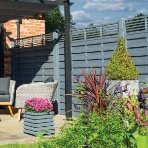 Rowlinson 6' x 6' Sorrento Grey Fence Panel with Slatted Top (1.8m x 1.8m)