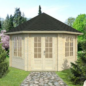 14'x14' (4.2 x 4.2m) Palmako Natalie 44mm Log Cabin