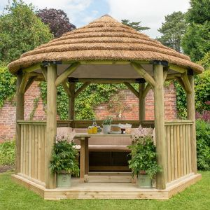 12'x10' (3.6x3.1m) Luxury Wooden Furnished Garden Gazebo with Country Thatch Roof - Seats up to 10 people
