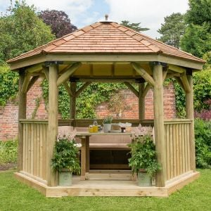 12'x10' (3.6x3.1m) Luxury Wooden Furnished Garden Gazebo with New England Cedar Roof - Seats up to 10 people