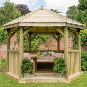 12'x10' (3.6x3.1m) Luxury Wooden Furnished Garden Gazebo with Traditional Timber Roof - Seats up to 10 people