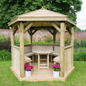 10'x9' (3x2.7m) Luxury Wooden Furnished Garden Gazebo with Traditional Timber Roof - Seats up to 10 people