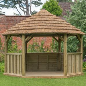 15'x13' (4.7x4m) M&M Hexagonal Gazebo with Country Thatch Roof (Inc. Cream Roof Lining)