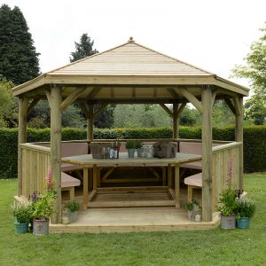 15'x13' (4.7x4m) Luxury Wooden Furnished Garden Gazebo with Timber Roof - Seats up to 19 people