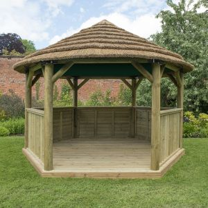13x12 Luxury Wooden Garden Gazebo with Country Thatch Roof - Seats up to 15 people