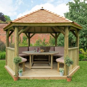 13'x12' (4x3.5m) Luxury Wooden Furnished Garden Gazebo with New England Cedar Roof - Seats up to 15 people