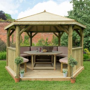 13'x12' (4x3.5m) Luxury Wooden Furnished Garden Gazebo with Traditional Timber Roof - Seats up to 15 people