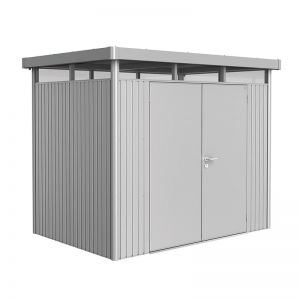 8' x 5' Biohort HighLine H2 Silver Metal Double Door Shed (2.52m x 1.72m)