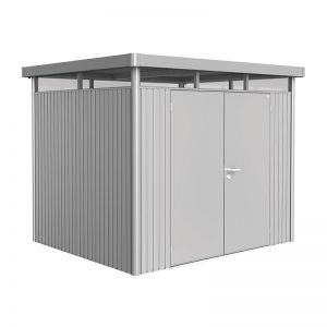 8' x 7' Biohort HighLine H3 Silver Metal Double Door Shed (2.52m x 2.12m)