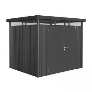 8' x 7' Biohort HighLine H3 Dark Grey Metal Double Door Shed (2.52m x 2.12m)