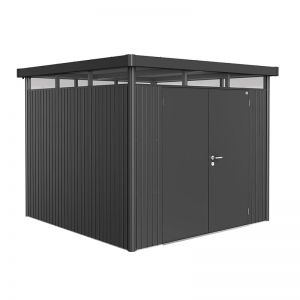 8' x 8' Biohort HighLine H4 Dark Grey Metal Double Door Shed (2.52m x 2.52m)